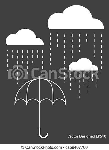 White Cloud with Rain drop on umbrella - csp9467700