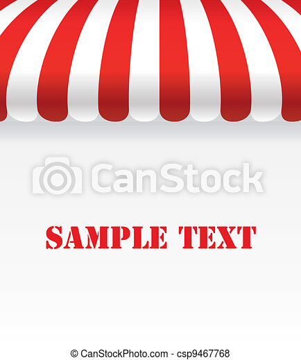Red and white strip shop awning with space - csp9467768