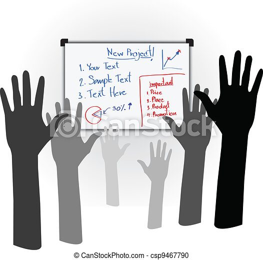 Many hands high up vote for the new bussiness project at the whiteboard - Vector Designed EPS10 - csp9467790