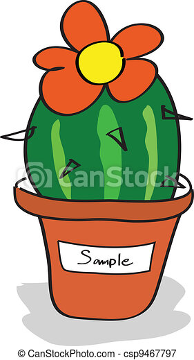 Cactus in a pot with tags - csp9467797