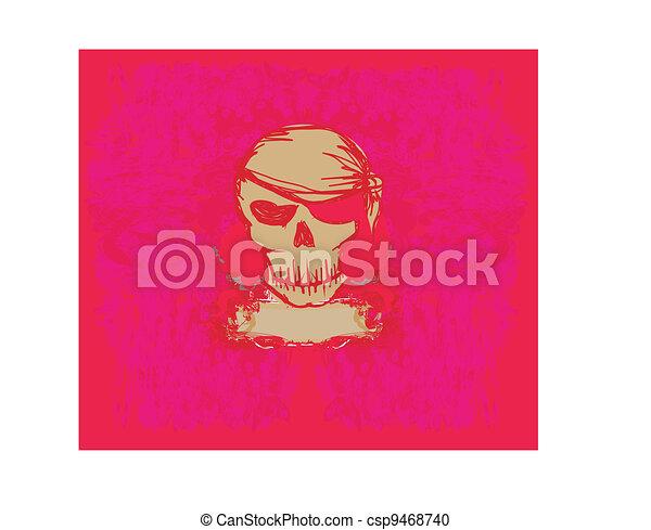 Skull Pirate - retro card - csp9468740