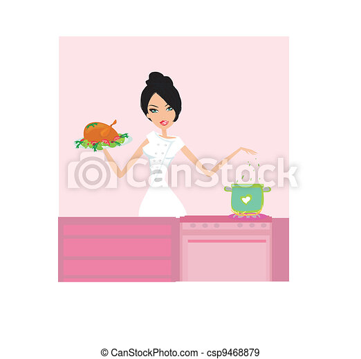 Beautiful lady cooking lunch  - csp9468879