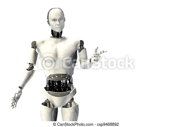 cyber robot man pointing isolated - csp9468892