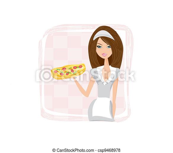 beautiful waitress enjoys pizza  - csp9468978