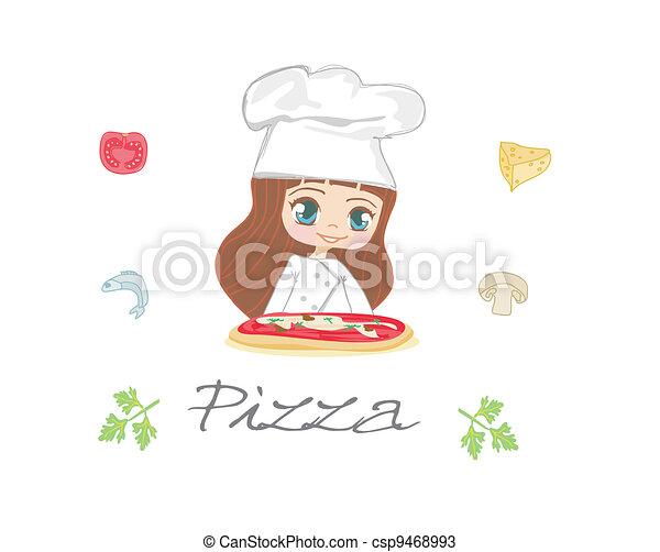 beautiful woman enjoys pizza  - csp9468993