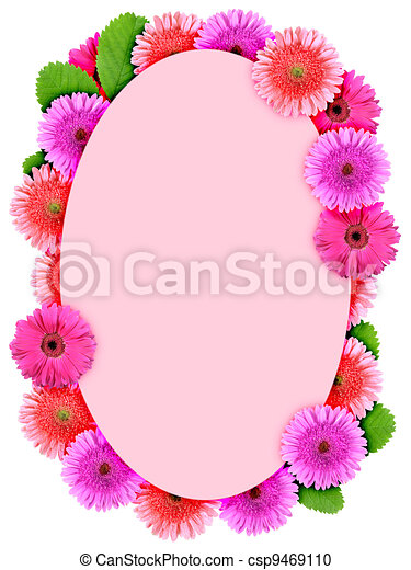 Floral ellipse frame with pink flowers - csp9469110