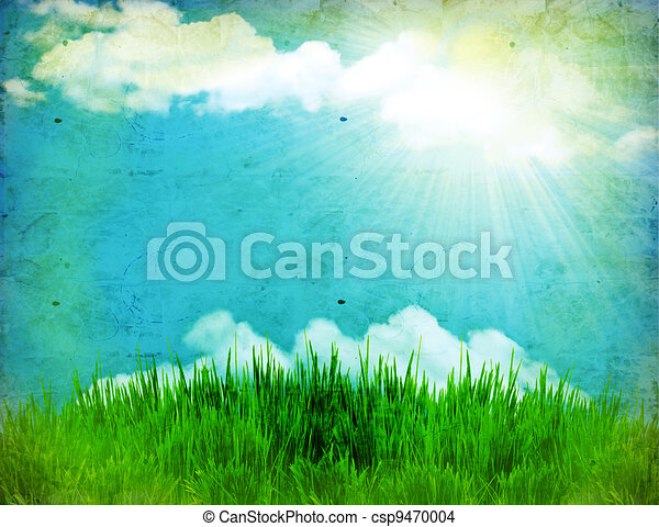 Vintage nature background with green grass and sun - csp9470004