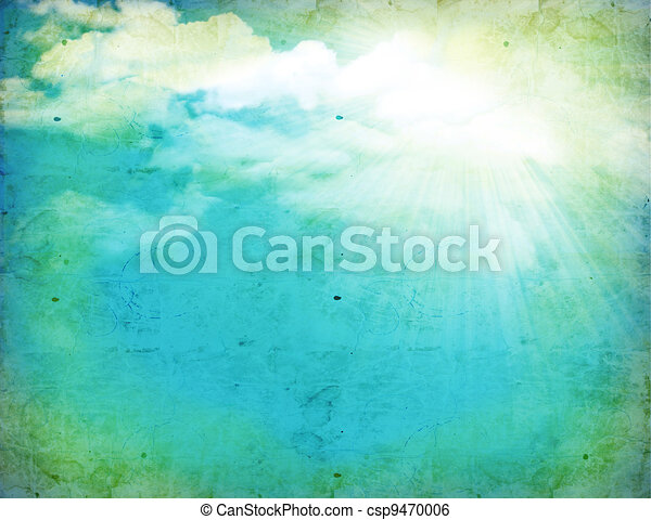 Vintage nature background with green grass and sun - csp9470006