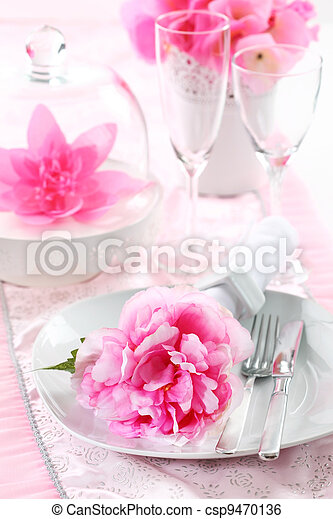Place setting in pink - csp9470136
