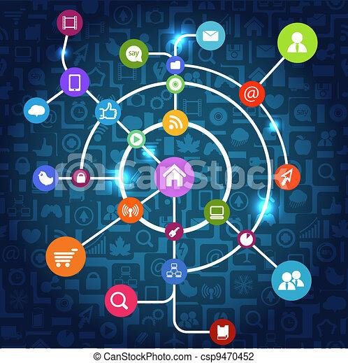 Modern social media abstract scheme - csp9470452