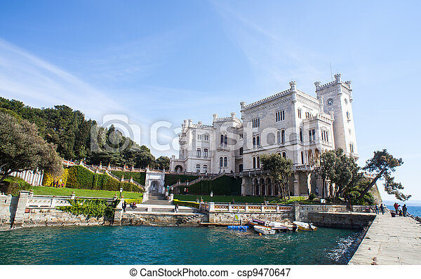View of Miramare castle, Trieste - Italy