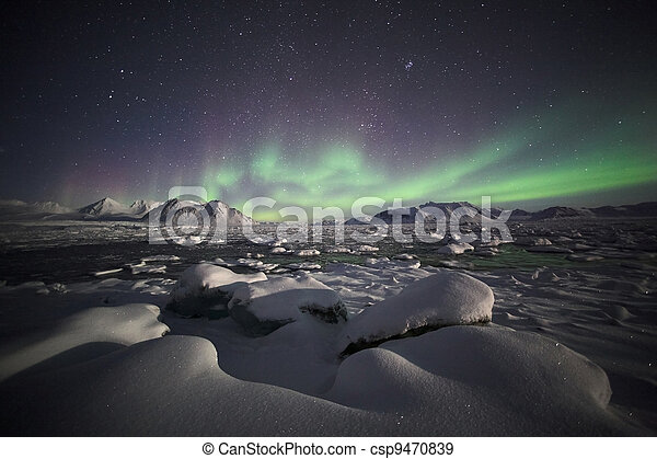 Northern Lights, Arctic landscape - csp9470839