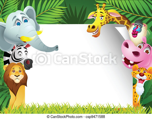 Animal cartoon with blank sign - csp9471588