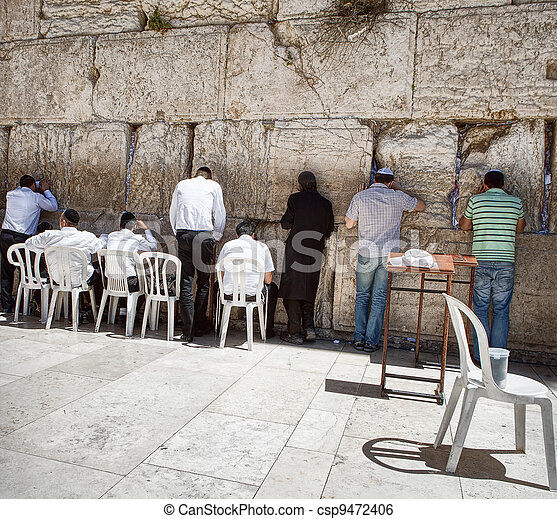 Jews at the wailing western wall in Jerusalem - csp9472406