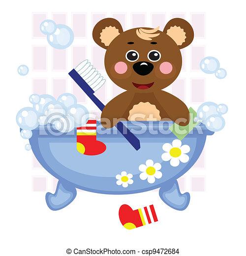 Vektor - teddy, bär, Duschen, in, Bad - Stock Illustration ...