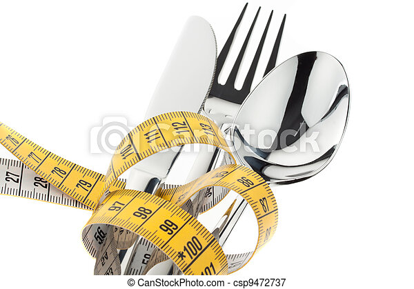 cutlery with tape. symbol diet. - csp9472737