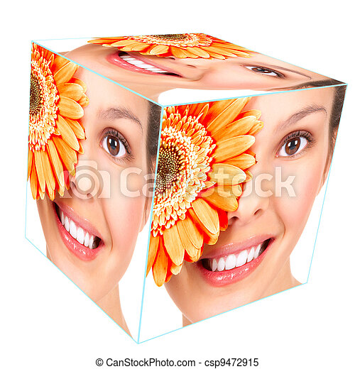 Woman smile cube collage. - csp9472915