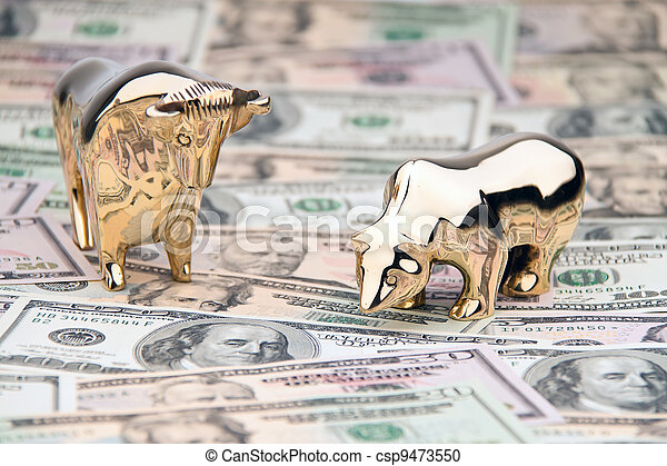 dollar currency notes with bull and bear - csp9473550