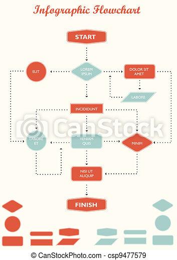 infographic flowchart vector - csp9477579