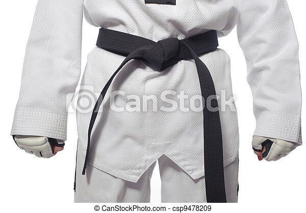 Woman in a kimono and belt and gloves for martial arts - csp9478209