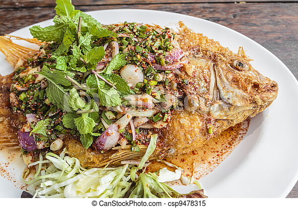 Thai food fried fish with spicy sauce. - csp9478315