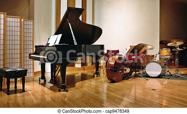 Jazz instruments on stage - csp9478349