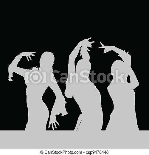 flamenco dance girl silhouette on black - csp9478448