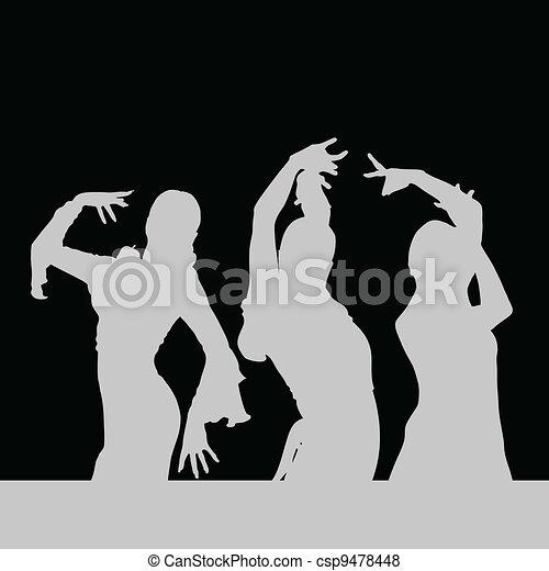 flamenco dance girl silhouette on black - csp9478448