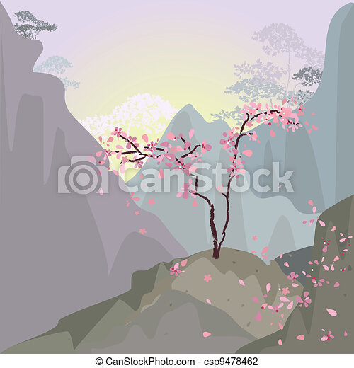 Mountain landscape in the morning with cherries - csp9478462