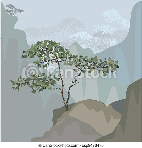 Tree on a mountain ledge - csp9478475