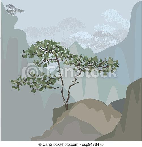 Tree on a mountain ledge - csp9478475