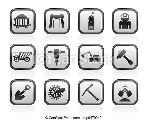 Mining and quarrying industry icons - csp9479212