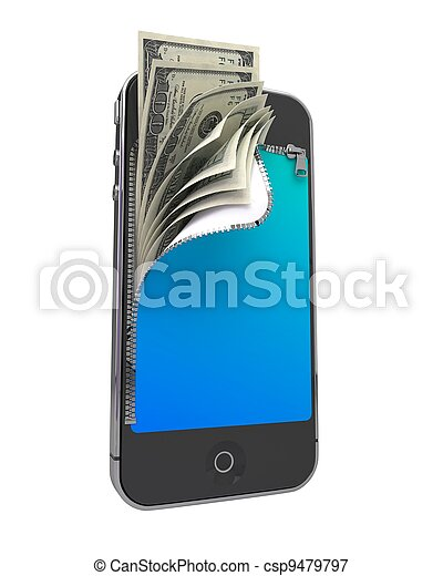 Smart Phone with Money. Mobile Payment Concept. - csp9479797