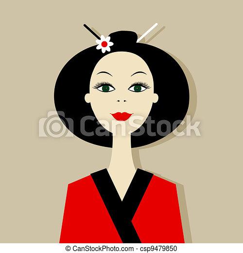 Asian woman portrait for your design - csp9479850