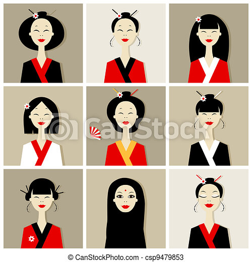 Asian women portraits, collection for your design - csp9479853
