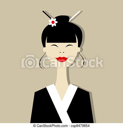 Asian woman portrait for your design - csp9479854