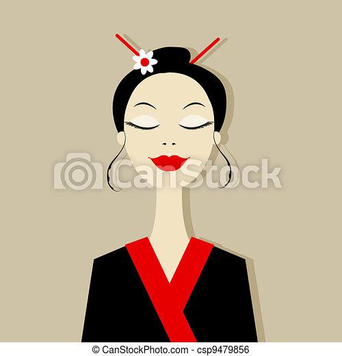 Asian woman portrait for your design - csp9479856