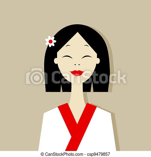 Asian woman portrait for your design - csp9479857