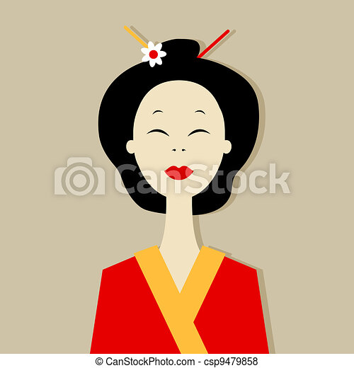 Asian woman portrait for your design - csp9479858