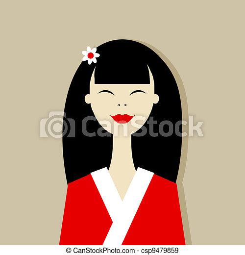 Asian woman portrait for your design - csp9479859