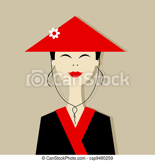 Asian woman portrait for your design - csp9480259