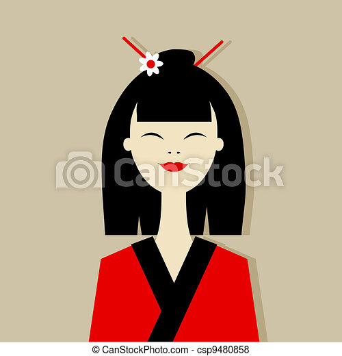 Asian woman portrait for your design - csp9480858
