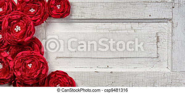 red flowers on vintage door - csp9481316