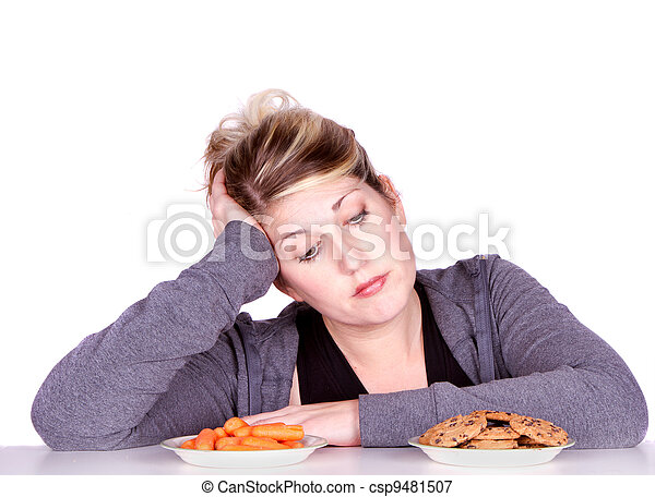 Woman on diet making eating choices - csp9481507
