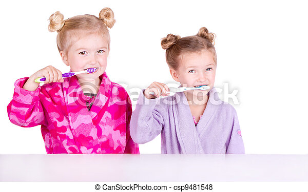 Two cute girls brushing teeth - csp9481548