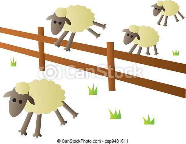 Sheep Jumping Fence - csp9481611