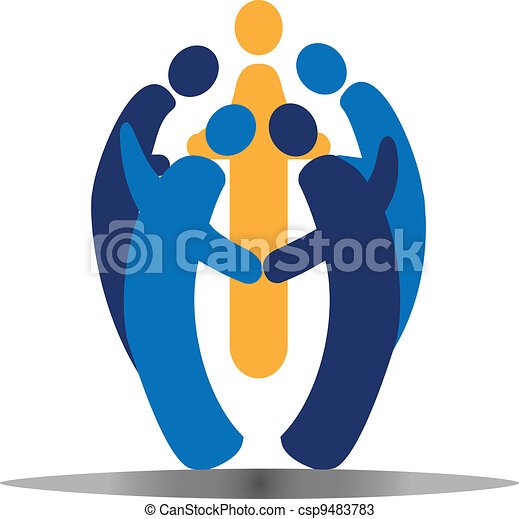 Teamwork social people logo vector - csp9483783