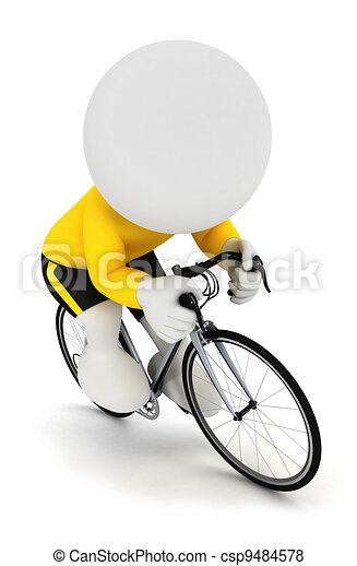 3d white people racing cyclist - csp9484578