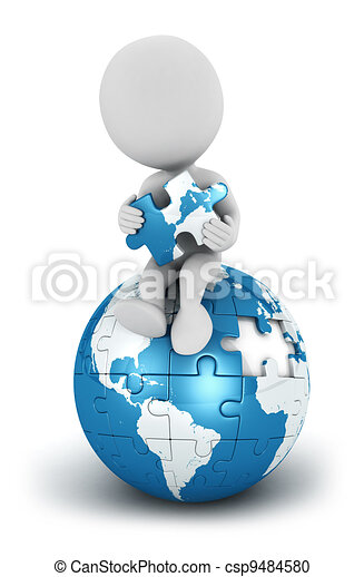 3d white people seated blue earth - csp9484580