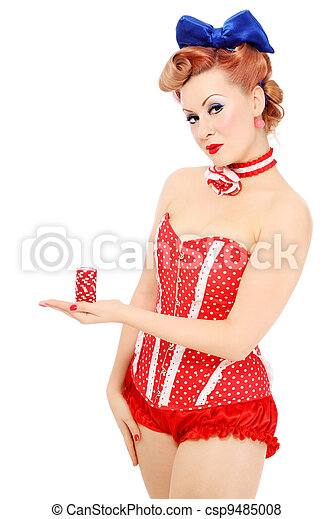 Girl with poker chips - csp9485008